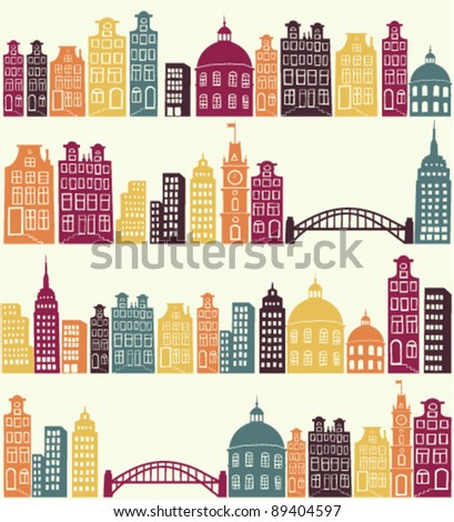 seamless pattern with city