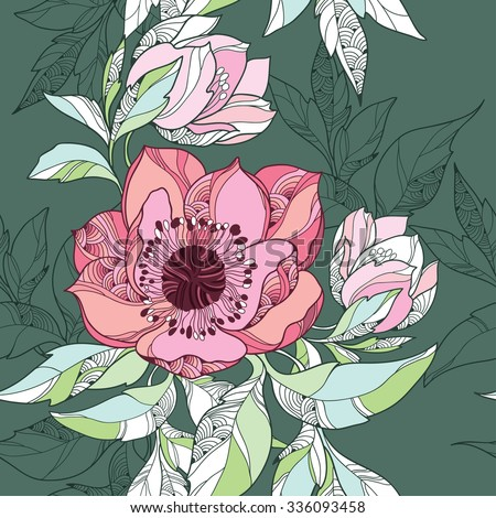 Seamless pattern with Clematis flower in pink on the dark green background