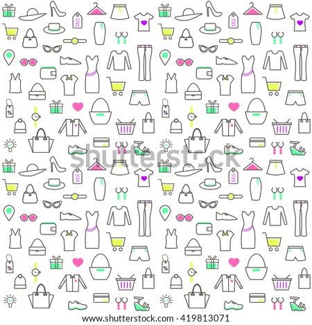 Seamless Pattern With Clothes and Accessories in Thin Line Style. Collection of Line Web Icons of Online Clothes Shop, Ecommerce, Internet Shopping. Vector template for your design.