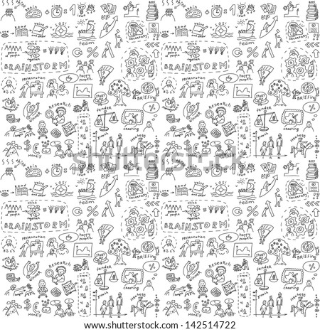 Seamless pattern with collection of icons and symballs with hand-drawn doodles people. Good design elements for funny presentation. Black and white vector illustration.