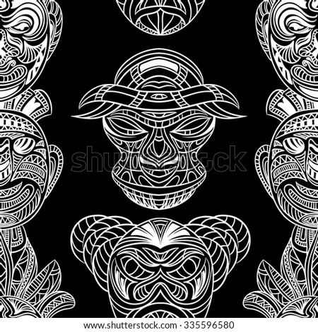 8d8c5d5a43ac6 Seamless pattern with collection of Tribal mask. Retro black and white  highly detailed hand drawn · decorative owl ...