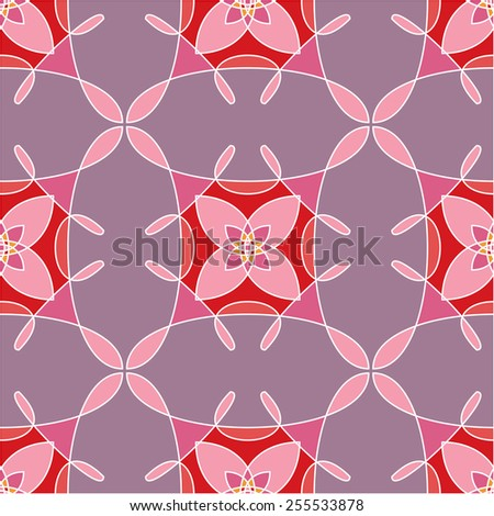 Seamless pattern with colored abstract flowers. Vector illustration #255533878
