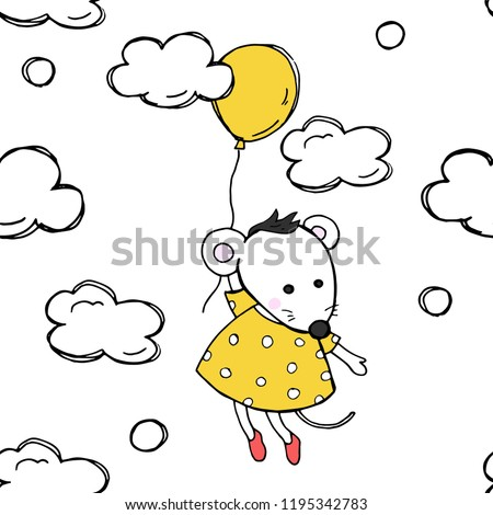 Seamless pattern with colored balloons and mouse. White mouse flying in a balloon. Colorful vector illustration in sketch style.