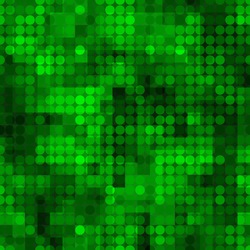 Seamless pattern with colored chaotic circles. Abstract modern endless background in glowing green colors. Vector illustration.