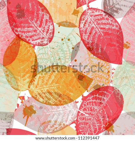 Seamless pattern with colored leaves and blots in grunge style. EPS 10 vector illustration