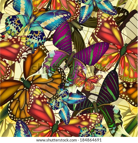 Seamless pattern with colorful butterflies. Vector illustration, EPS 10