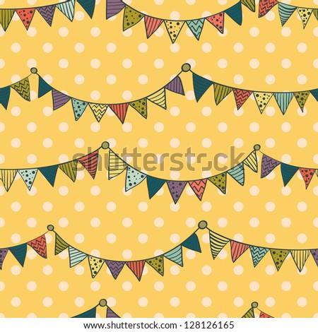 Seamless pattern with colorful childish bunting flags on polka dot background. Vector illustration.