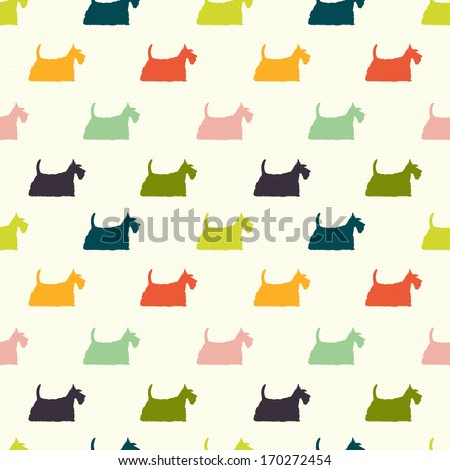Seamless pattern with colorful dog silhouettes on polka dot background. Scottish terrier. Vector background.