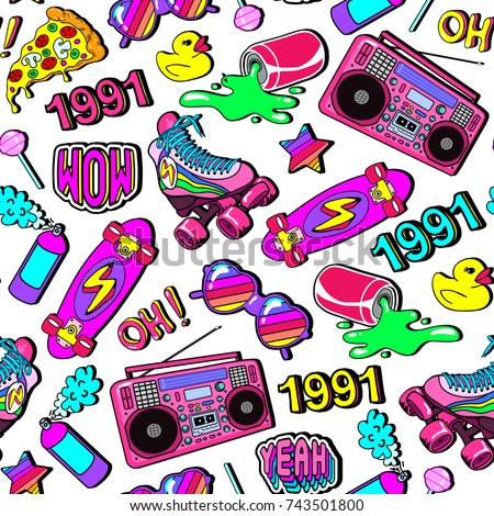 Seamless pattern with colorful elements: skateboard, pizza, sunglasses, boombox, rubber duck, vintage roller blades, lollypop, etc. Background with patches, badges, pins, stickers in comic style.
