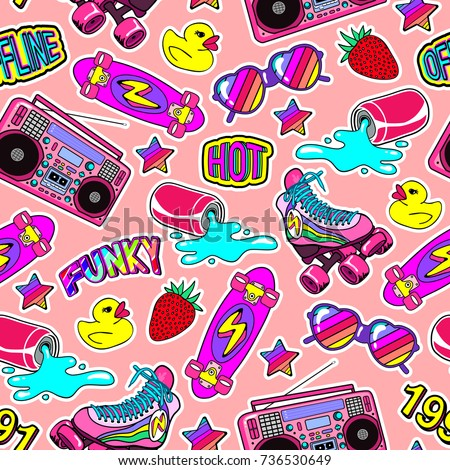 Seamless pattern with colorful elements: skateboard, sunglasses, boombox, rubber duck, vintage roller blades, soda can, etc. Peachy background with patches, badges, pins, stickers in 80s comic style.