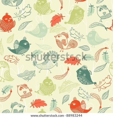 Seamless pattern with colorful feathers and birds