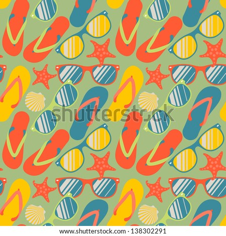 Seamless pattern with colorful flip flops, sunglasses and starfish, vector illustration.