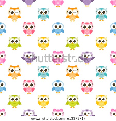 seamless pattern with colorful funny owls and owlets