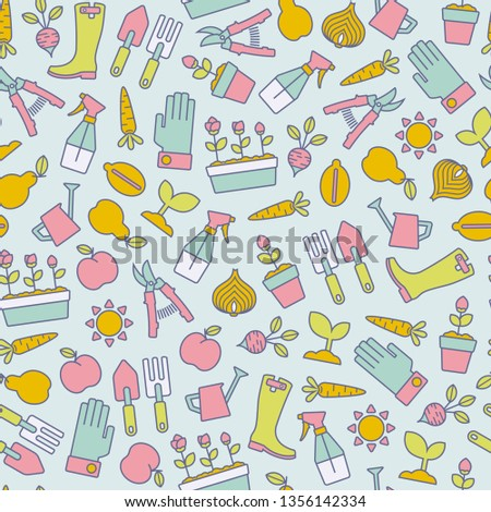 seamless pattern with colorful gardening design elements on blue background
