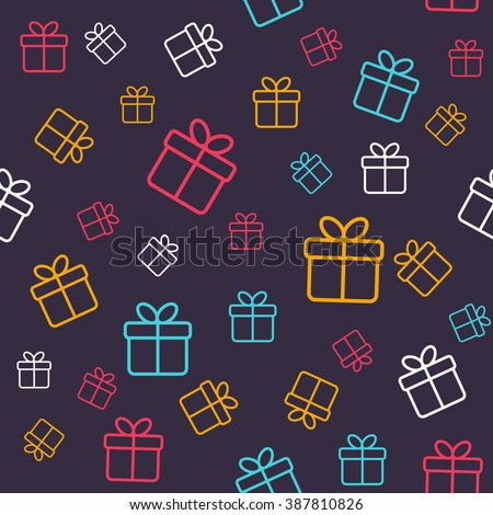 Seamless pattern with colorful gift boxes. Pattern for fabric print, wrapping paper design