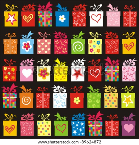 Seamless pattern with colorful  gift boxes. vector illustration
