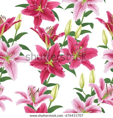 Seamless pattern with colorful lilies flower on white background. Vector set of blooming floral for wedding invitations and greeting card design.