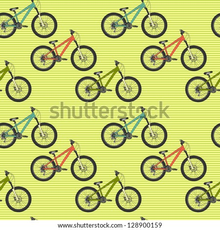 Seamless pattern with colorful mountain bicycles on striped background. Vector illustration.