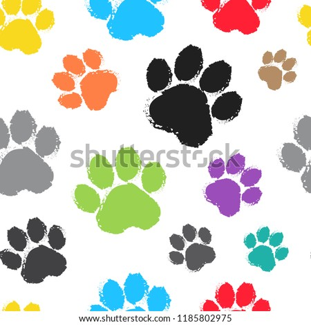 Seamless pattern with colorful silhouette animal paw track on white background. Vector illustration