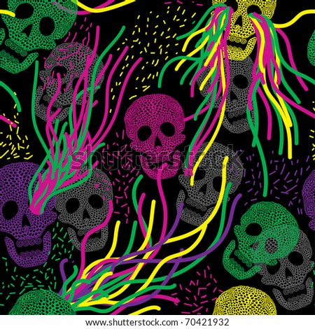 Seamless pattern with colorful skull. Vivid background with skull.