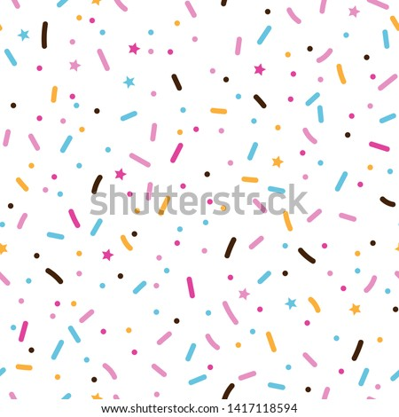 Seamless pattern with colorful sprinkles. Donuts glaze, dessert background. Sweet confetti on white chocolate glaze background. Vector Illustration for holiday designs, party, birthday, invitation.