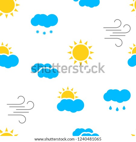 Seamless pattern with colorful weather icons . Vector illustration.