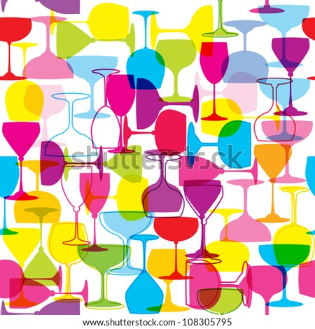 Seamless pattern with colorful wine glasses
