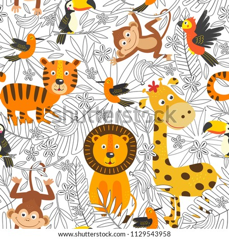 stock-vector-seamless-pattern-with-coloring-tropical-animals-vector-illustration-eps