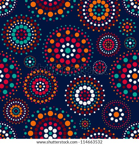 Seamless Pattern with Concentric Circles on Dark Blue Backdrop. Vector Background