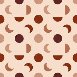 Seamless pattern with contemporary geometric shapes in modern beige and terracotta colors. Simple vector background is perfect for textile, home decor, scrapbooking, wrapping paper and stationery.