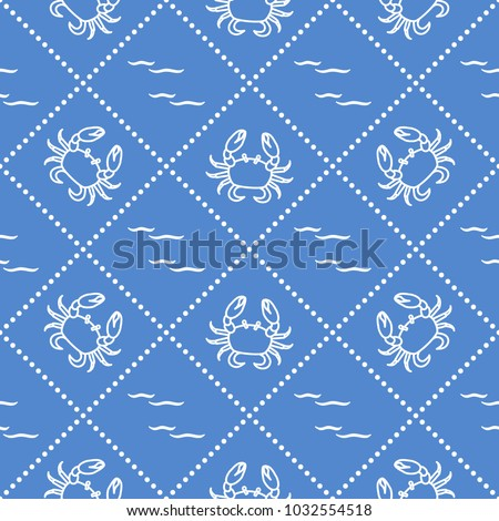 Stock Photo Seamless pattern with crabs and waves. Design for banner and print.