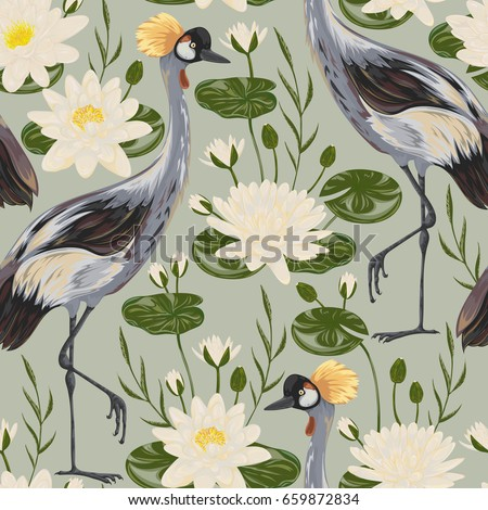 Seamless pattern with crane bird and water lily. Oriental motif. Vintage hand drawn vector illustration in watercolor style