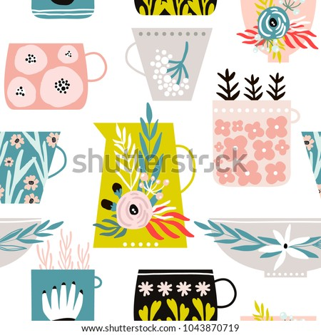 Seamless pattern with creative decorative flowers in vase,pot, cup. Great for fabric, textile. Vector background