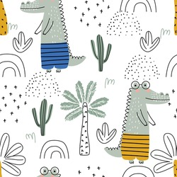 Seamless pattern with crocodile, palm trees and cacti on a white background. Vector illustration for printing on packaging paper, fabric, postcard, clothing. Cute children's background