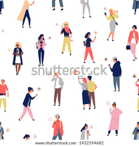 Seamless pattern with crowd of people using smartphones or mobile phones with messengers. Backdrop with young men and women sending and receiving digital messages. Flat cartoon vector illustration.