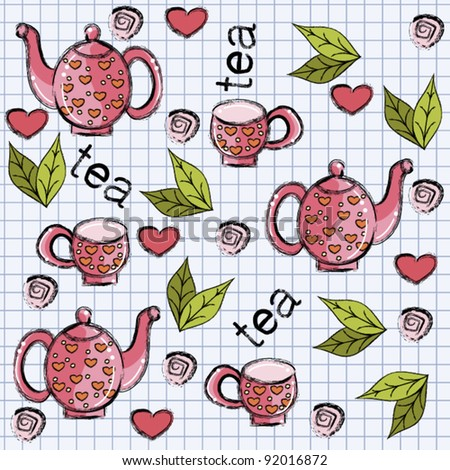 Seamless pattern with cups, teapot and tea