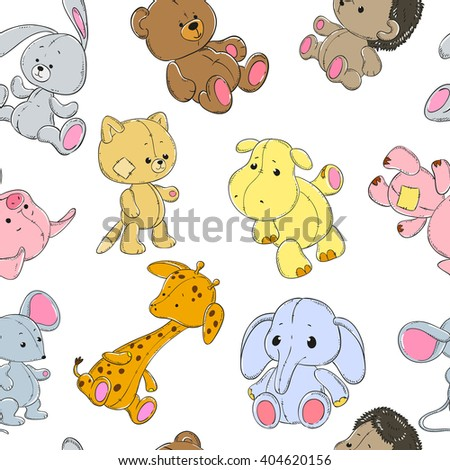 stock-vector-seamless-pattern-with-cute-animals-on-a-white-background-elephant-giraffe-hippopotamus-bear