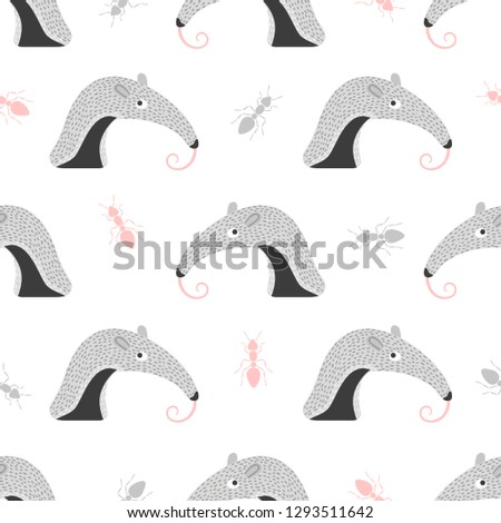 seamless pattern with cute ant