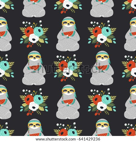 Seamless pattern with cute baby sloth and flowers. Funny hippie sloth holding watermelon slice. Repeating print with adorable hipster animal, roses, leaves and other floral elements. Vector