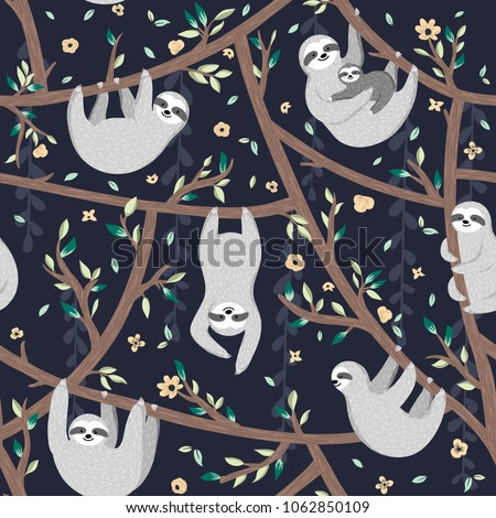 Seamless pattern with cute baby sloths hanging on the tree. Hand drawn adorable animal background in the childish style. Vector rainforest set of funny sloths, flowers, leaves