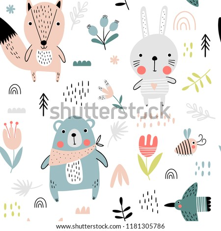 Seamless pattern with cute bear, fox and hare in Scandinavian style. Vector funny illustration for children.