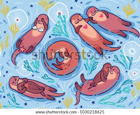Seamless pattern with cute brown otters and ornamental seaweed and corals in blue water. Vector illustration for kids design, wallpaper, wrapping, textile, package design.