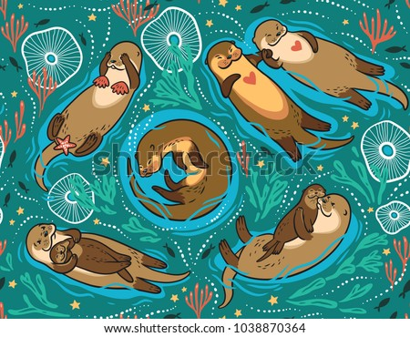 Seamless pattern with cute brown otters and ornamental seaweed and corals in green water. Vector illustration for kids design, wallpaper, wrapping, textile, package design.