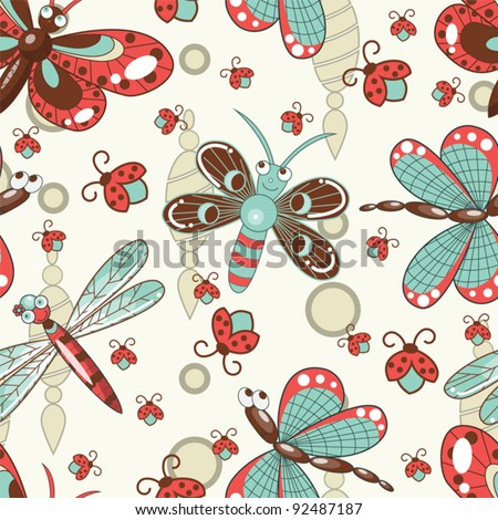 Seamless pattern with cute butterflies and dragon-flies