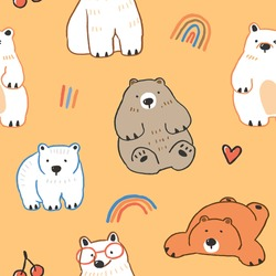 Seamless Pattern with Cute Cartoon Bear Illustration on Yellow Background