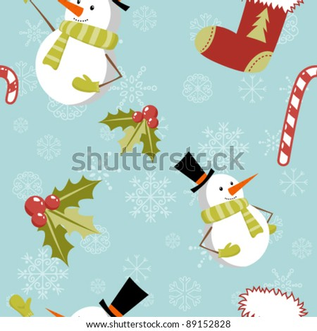 Seamless pattern with cute cartoon Christmas snowman, candy cane, holly berries and red stocking with xmas tree