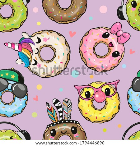 Seamless Pattern with cute cartoon donuts