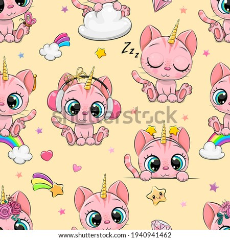 Seamless Pattern with cute cartoon kitty unicorn