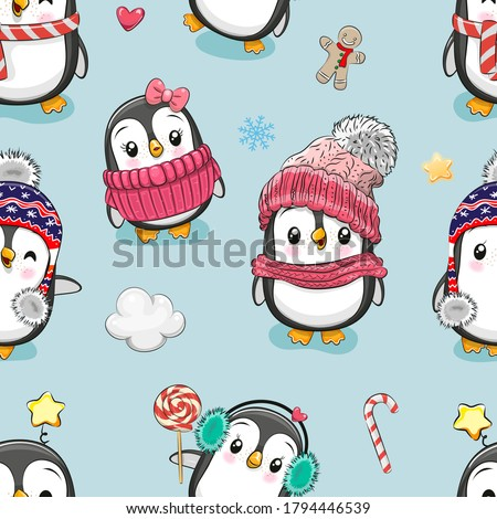 Seamless Pattern with cute cartoon penguins