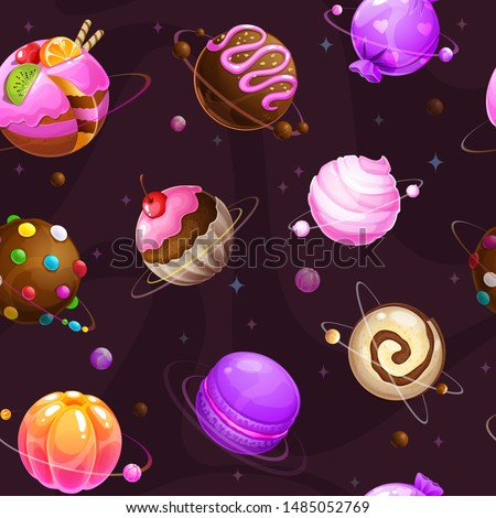 Seamless pattern with cute cartoon sweet planets on the space background. Fantasy cosmic vector texture.